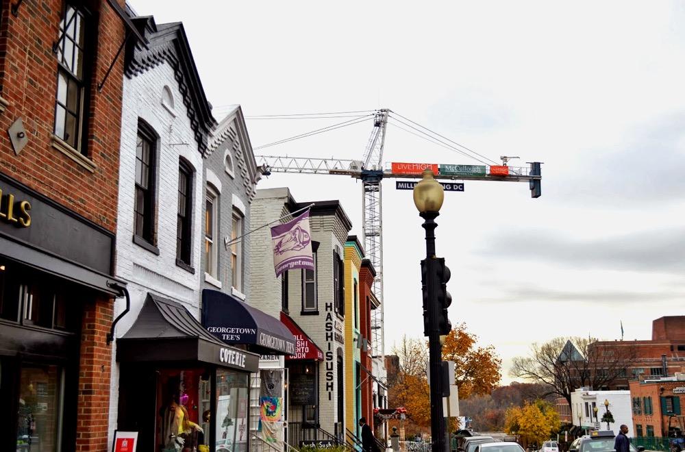 cityscape with crane